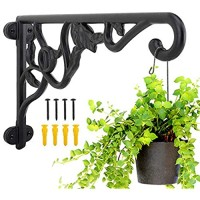Heavy Duty Hanging Plant Brackets 2pcs 13 Hand Forged Iron Wall Mount Bracket Durable Rust-Resistant Plant Hanger Hook for Hanging Plants Bird Feeder Lantern Wind Chimes