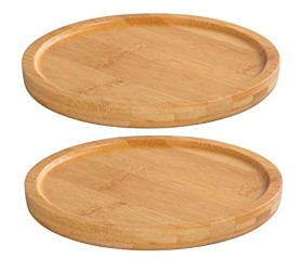 Dsben Bamboo Plant Saucer Durable Plant Tray for Indoors and Suitable for 6-7 Inch Plant Pots Set of 2