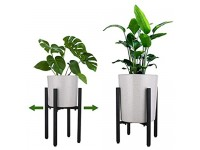 """2Pcs Metal Plant Stand Flower Holder with Adjustable Width Fits 10"""" to 16"""",Modern Indoor Mid Century Plant Holder,Indoor & Outdoor Plant Stand (2)"""