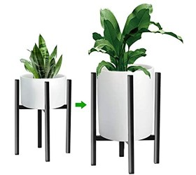Adjustable Metal Plant Stand Width Fits 10 11 12 13 14 Inch Pots Mid-Century Indoor Outdoor Sturdy Flower Holder Black with Pruning Shears (Pot & Plant Not Included)