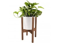 """Plant Stand Adjustable Modern Indoor Plant Holder Mid Century Brown Planter Fits Medium & Large Pots Sizes 8 9 10 11 12 inches (Not Included) (Adjustable Width: 8-12"""" x 16"""" Tall  Brown)"""