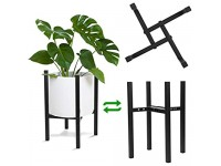 Plant Stand Mid Century Metal Planter Stand Tall and Low Flower Pot Holder Indoor Outdoor Plant Display Rack Adjustable Fits 4 6 8 10 12 Inch Pots Black