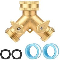 J&D Brass Garden Hose Splitter Heavy Duty Brass Dual Outlet Tap Connector 2 Way Garden Hose Tap Adapter Y Split Connector with Valves and Seal Tapes for Garden Lawn Irrigation Watering