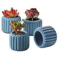 ZONESUM Succulent Plant Pots Mini 2.5 Inches Succulent Planter Small and Cute Ceramic Garden Pots with Drainage Holes - Ideal for Indoor Decoration of Windowsill Office Desk Set of 4 Blue