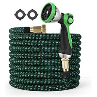Expandable Garden Hose 10 Function Zinc Sprayer Water Hose with Slide Control 3750D Lightweight Flexible Hose Heavy Duty 75FT Garden Hose with Leakproof 3/4 Brass Connector Multi-layer Latex Core