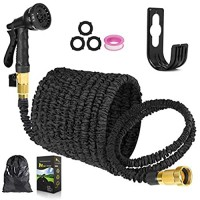 Expandable Garden Hose Kink Free Garden Hose 50 ft Latex Core Flexible Anti-Leakage Water Hose with 8 Function Nozzle 、Brass Connector、Pocket Easy Storage for Outdoor Lawn Car Watering (Black 50)