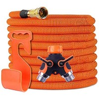 Garden Hose Expandable,Flexible Water Hoses Super Durable 3750D Fabric,4-Layers Flex Strong Latex No-Rust Brass Connectors with Pocket Protectors for Gardening /Car & Pet Washing (Orange 100FT)