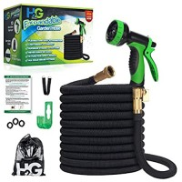 H₂G Garden Hoses that Shrink 50 ft | Superior Strength Expanding Lightweight Water Collapsible Hose 50ft | Expandable Non Kink Flexible Black Shrinking Hose | 3/4 Brass Connectors | 10 Mode Sprayer