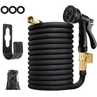 KY Garden Hose Leakproof Lightweight Water Hose with Solid Brass Fittings Portable Outdoor Water Hose with 8 Function Spray Nozzle and Durable Gardening Flexible Hose Pipe (75ft)