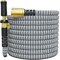 TITAN 15FT Garden Hose - All New Expandable Water Hose with Triple Latex Core 3/4 Easy Removal Solid Brass Fittings Expanding Extra Strength Fabric Flexible Hose with Jet Nozzle and Washers (H)