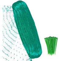 YHmall Anti Bird Netting 6.5 x 50 Ft Reusable Protective Garden Netting with 0.76 Inch Square Mesh - Fruit Tree Netting Protect Plants Fruit Trees Vegetables Animals wiith 50 Pcs Twist Ties