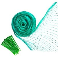YHmall Bird Netting 13 x 33 Feet Reusable Heavy Duty Fruit Tree Netting Garden Netting Protect Fruit Trees Blueberries Plants and Vegetables from Birds and Animals (Green 50 Pcs Cable Ties)