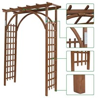 Houssem 85inch Wood Arbor Arch Outdoor Garden Trellis for Climbing Plant Wedding Arch for Ceremony Pergola for Garden Patio Greenhouse Backyard Lawn Bridal Party Decoration 63 x 24 x 85 inch