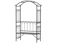 """Outsunny 19.75"""" Metal Garden Arbor Archway with Relaxing Bench & Delicate Scrollwork Perfect for Weddings & Backyards"""