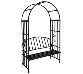 Stereoscopic Garden Steel Garden Arch Arbor Archway with Graceful Curve for Climbing Plants Roses Vines Outdoor Garden Lawn Backyard Patio Wedding Black (6'9 x 3'9 with Seat)