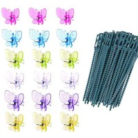 120 Pcs Butterfly Orchid Plant Clips Ties Plant Support Staking Clips Garden Tomato Flower Vine Clips Loop Lever Plant Fixed Lashing Tied Buckle Gripper Clips for Supporting Stems Vines Grow Upright