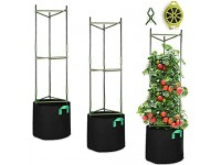 GROWNEER 6 Packs Plant Cages Assembled Tomato Garden Cages Stakes Vegetable Trellis  with 6Pcs 10 Gallon Grow Bags  18Pcs Clips and 328Ft Twist Tie  for Vertical Climbing Plants