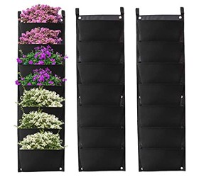 2 Pack Hanging Planter Bags Waterproof 7 Pocket Garden Vertical Planter Bags Wall-Mounted Felt Planting Grow Bags Outdoor Indoor Gardening Flower Container Plant Grow Bag for Flower Vegetable