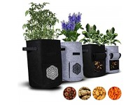 Crush Grow 10-Gallon Potato Grow Bags for Plants  Vegetables  and Herbs  4 Pack  Reusable Growing Containers  Breathable and Eco-Friendly Felt  Optimal Aeration  Growth  and Fruiting