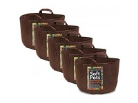 Soft POTS (5 Gallon) (5 Pack) Best Fabric Soft Pots and Grow Bags from Maui Mike's. Made of Thicker Material with Sewn Handles for Easy Moving. Grow Healthier Tomatoes  Herbs and Veggies.
