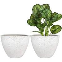 Flower Pots Outdoor Indoor Planter - 11.3 inch Garden Plant Pots Tree Planter for Patio Deck Garden Speckled White Set of 2