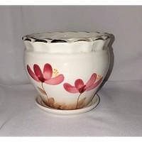 New 5.5 Dark Mauve Tropical Flowers Planter Plant Pot & Saucer
