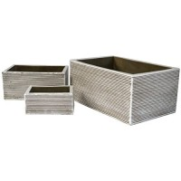 Rectangles Contour Natural Cement Fiber Planter Set  Color: Rustic White
