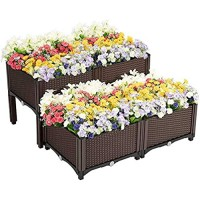 ABULU Elevated Raised Garden Bed Planter Box for Flowers Vegetables Fruits Herbs  Vegetables Plant Raised Bed Kits Outdoor Indoor Planting Box Container for Garden Patio Balcony Restaurant.