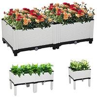 Binrrio Set of 2 Raised Garden Bed Kits Planting Pots Elevated Garden Beds for Flowers Vegetables Herb Planter Outdoor Indoor Planting Box for Garden Patio Balcony Restaurant (White)
