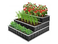 CEED4U 3 Tiers 4 x 4 x 2 Feet Metal Raised Garden Bed with 15 Packs Plant Labels and 1 Pair of Gloves  Large Planter Box Steel Kit for Vegetables  Flower  Herbs  Fruits (Dark Grey)