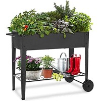 EBTOOLS Raised Planter Box Iron Mobile Elevated Garden Bed with Storage Shelf and Lockable Wheels Square Garden Cart for Vegetables Flowers on Patio Deck or Yard 33.1 x 12.2 x 31.5 in