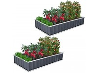 GROWNEER 2 Packs 5.7 x 3 ft Dark Gray Metal Raised Garden Bed with 1 Pair of Gloves and 30 Pcs Plant Labels  Elevated Planter Box for Vegetables  Fruits  Flowers  Herbs