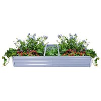 Metal Raised Garden Bed for Vegetables-Planter Box-Large Outdoor Kit for Herb Flower-Including Pair Gardening Gloves and Mini Digging Tool Set-71 x 35 x 12 Inch-Grey
