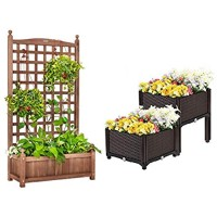 VIVOHOME 60 Inch Wood Planter Raised Beds with Trellis and Elevated Plastic Raised Garden Bed Planter Kit for Flower Vegetable Grow Brown Set of 2