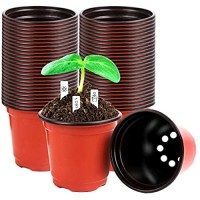 220 Pcs 4 Inch Plastic Plant Nursery Pots Seed Starting Pots Containers with 300 Labels