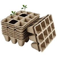 5Packs Peat Pots Seed Starter Trays  Biodegradable Seedling Pots Germination Trays 12 Grids Square Peat Pots Plant Seedling Starters Cups Nursery Herb Seed Tray Kit Pots for Vegetable Flower Plants