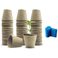 Biodegradable Peat Pots 3.15 inch Succulent Planter Nursery Pots 120 Pack Plant Seed Starter Pots Kit Planter Nursery Pots Transplant Seedlings Pots Seed Germination Trays with 50 Pcs Plant Labels