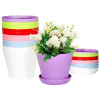 Flower Pots Indoor with Saucers 5.5 Inch Plastic Planter Pots with Drainage Perfect Plant Container for Seedlings/Nursery/Starting Plants (5 Colors)