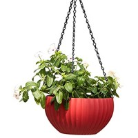 "8.26"" Self-Watering Hanging Planter for Indoor-Outdoor. Plants Hanging Baskets Plant and Flower Pots with Water Level Indicator Gauge with Basket Hook (red)"