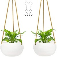 FairyLavie 8'' Ceramic Hanging Planter Hanging Pots with Hooks Polyester Rope for Indoors Outdoors Plants Hanging Plant Holder for Home Decor and Ideal Gift for Family Friends Set of 2