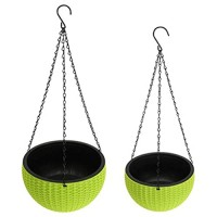 Foraineam 2-Pack Dual-pots Design Hanging Planters Self-Watering Garden Plant Pots Indoor Outdoor Flower Hanging Baskets with Drainer and Hanging Chain 2 Size Assorted