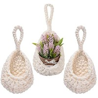 MONT PLEASANT Hanging Basket Wall planters Crochet Cotton Hanging Basket for Plants Teardrop Shape Handmade Baskets Small Wall Planter for Hanging Succulent Planters Wall Basket Decor for Storage