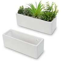 MyGift 10 Inch Modern Matte White Rectangular Ceramic Wall Mounted Hanging Planter Boxes Set of 2