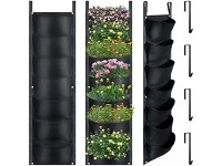 Vertical Wall Garden Planters and Hanging Hooks  Wall Hanging Planting Bags with 7 Pockets Waterproof Wall Mount Planter for Yard Garden Balcony Office Home Decoration (Black  6)