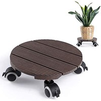 Skelang Round Plant Caddy 11.8 Inches Heavy Duty Wheeled Planter Cart Wood Plastic Plant Pallet Movable Plant Saucer Plant Dolly for Moving Potted Plant Garden Deck Planter Load Capacity 260 Lbs